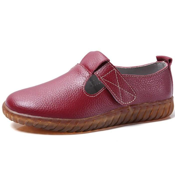 Genuine Leather Flat shoes women Hollow Breathable Ladies shoes Hook Loop Sturdy Sole Casual shoes Rubber Nurse Shoes for girls