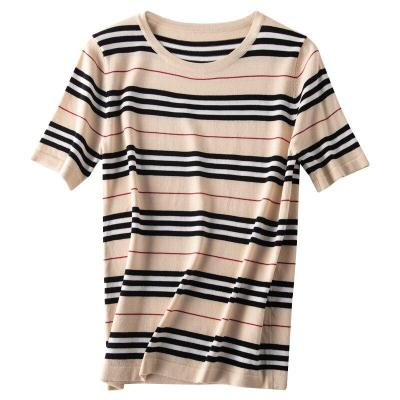 tshirt women summer fall knitted striped short sleeves o-neck eenagers tops stylish fashionable T-shirts pullover