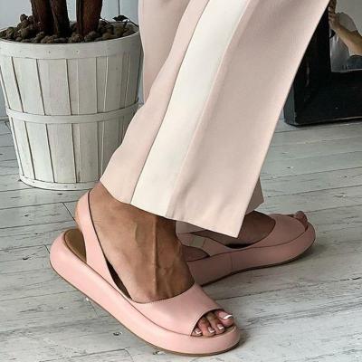 MCCKLE Women Sandals  Color Peep Toe Summer Rome Slip-On Woman Slides Slingbacks Casual Female Flats Platform Shoes Fashion