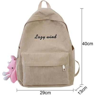 Stripe Female Corduroy Backpack kawaii Women School Bag Embroidery Letter Girl Cute Backpack Harajuku Fashion Ladies Bag Student