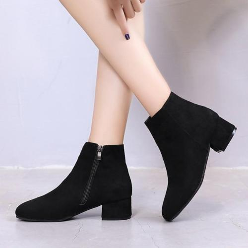 Plus size Winter Boots Women Low Heels Boots Black Ankle Boots Woman Faux Suede Booties designer shoes botas mujer 6777