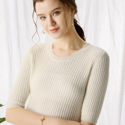Women cashmere knitting sweater autumn clothes female pullover half sleeves O-neck twist pattern fashion ladies tops