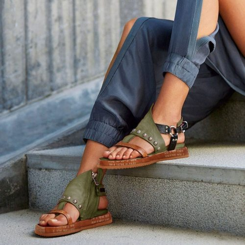 Shoes Woman Sandals Flat Casual Summer Sandals Women's Fashion Rome Flip Flops Wedges Sandals Artificial Leather Platform Shoes