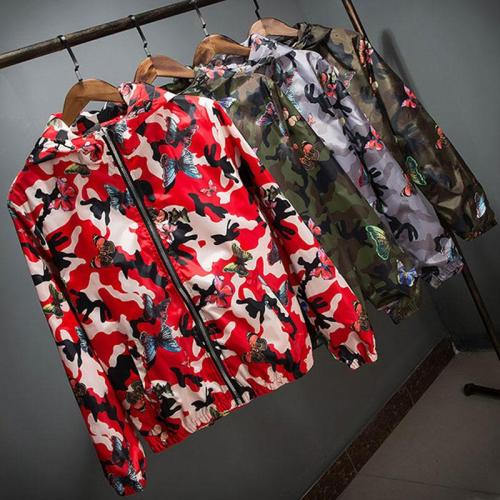 Lusumily 2020 High Quality Women Windbreaker Jacket Spring Summer Camo Thin Female Camouflage Butterfly Windbreaker Coats Hooded