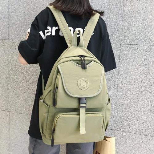 Solid color Applique brand women backpack teenage girl Buckle Nylon waterproof female large capacity bag school lady fashion new