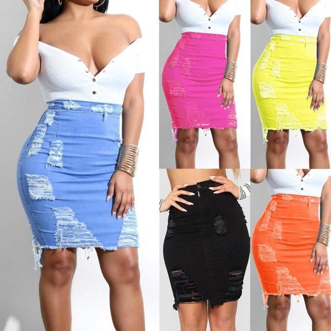 &35 Denim Skirt Women High Waist Ripped Denim Distressed Pencil Mini Jean Skirts Womens 2020 Women Midi Skirt Saia