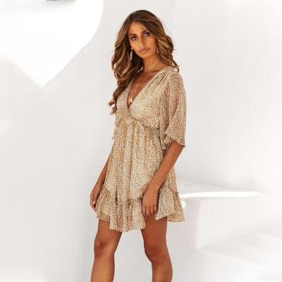 Women Dress Short Sleeve Leopard Printed Ladies Mini Dress Summer Backless Ruffle V Neck Work Wear Ol Dress For Female D30