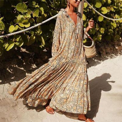 European and American Summer New Sexy V-neck Printed Long Sleeve Ruffles Long Dresses Women Vestidos Fashion Streetwear 2020