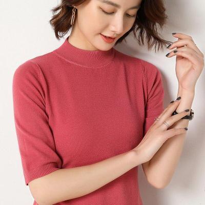 turtleneck half sleeves shirt women knitting pullover soft spring thin sweater solid short tops sexy turtleneck slim knitwear