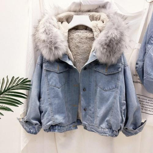 2020 velvet thick denim jacket female winter big faux fur collar Korea denim  coat female student short coat