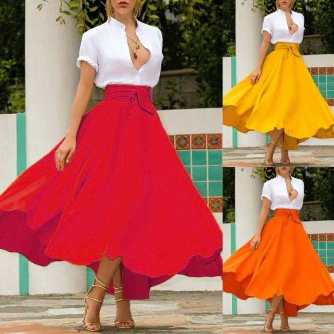 S-2XL Women High Waist Flared Pleated Long Gypsy Bandage Solid color Fashion Lovely Maxi Skirt Full Length