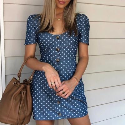 Summer Polka Dot Denim Dress Women Short Puff Sleeve Button Up Mini Dresses New Fashion Vintage High Waist Female Vestidos D30