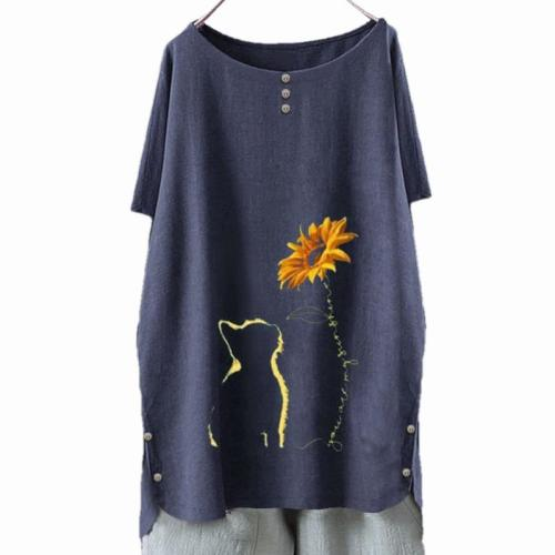 Women T-Shirt Autumn 2020 Casual Vintage Dandelion Print Butterfly Flower Long Sleeve Shirt Top Moda Poleras Mujer