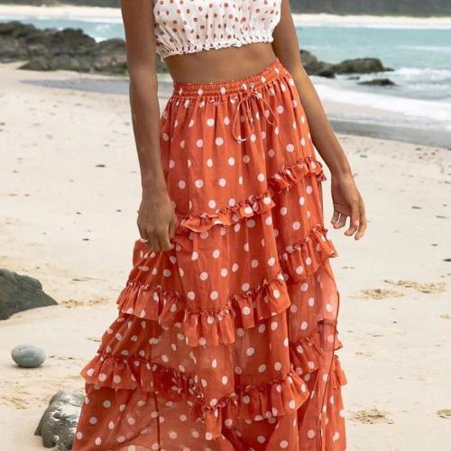 Foridol polka dot ruffle maxi long skirt bottoms women autumn high waist orange retro chic A-line skirts 2020 beach faldas mujer