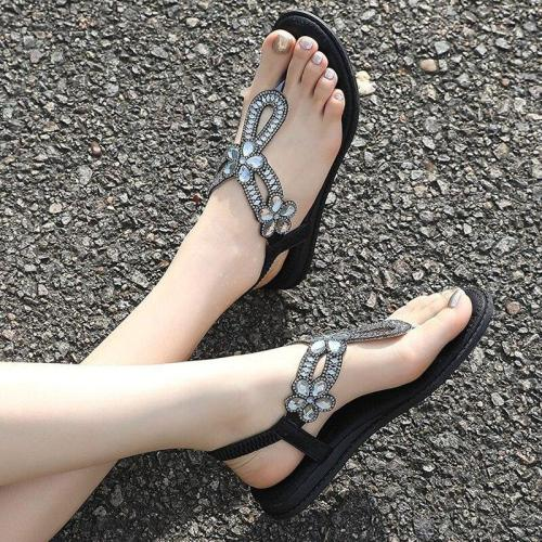 2020 Bohemian Comfortable Women's Shoes Flat Sandals Plus Size Flat Heel Rhinestone Sandals