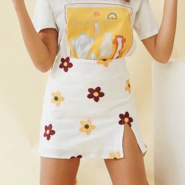 Foridol Daisy Embriodery Cut Skirt Summer Beach Floral Slit Skirts Womens 2020 White High Waist Cara Cotton Skirt