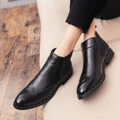 2020 Winter Fur Men's Chelsea Boots Leather Casual Carved Shoes Male British Style Slip-on Wedding Dress Ankle Boots for Man
