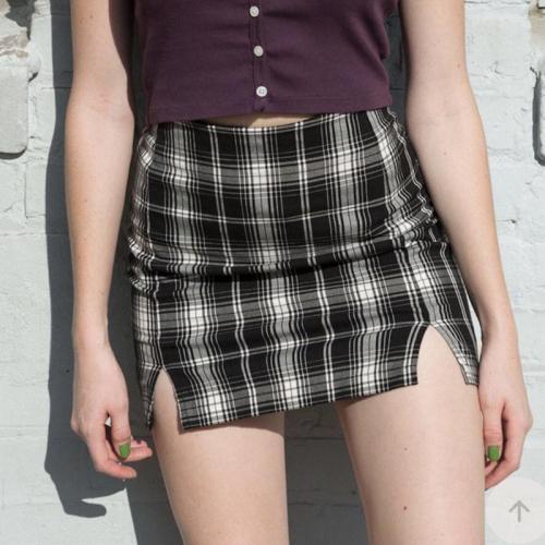 Foridol black plaid skirt with slit women vintage checkered split mini skirt high waist bodycon black and white skirt faldas
