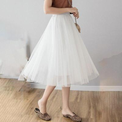 Three-layer Tulle Skirt Summer Mesh Pleated Skirt Women Plus Size Long Maxi Skirts Elastic Waist Korean Maxi Skirt Ankle-length