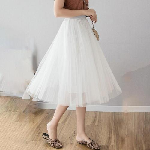 Three-layer Tulle Skirt Summer Mesh Pleated Skirt Women Plus Size Long Maxi Skirts Elastic Waist Korean Maxi Skirt Ankle-length