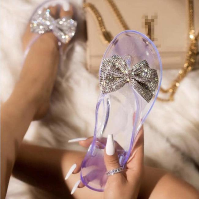 Summer 2020 Woman Pu Leather Bling Slippers Women Butterfly Knot  Beach Sandals Female Slip On Flip Flops Ladies Fashion Flat