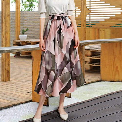 @  2020 New Fashion Womens Plain Knee Length Ladies Soft Stretch Flared Printed Casual Skater Midi Skirt