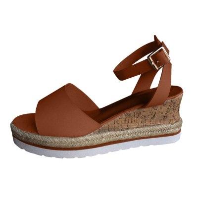 Woman's Platform Sandals 2020 Hot Sale Female Leather Wedges Sandal Lady Luxury Beach Dress Shoes Low Heel Ankle Strap Sandalias