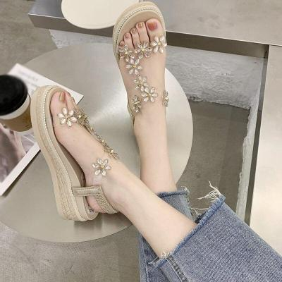 Bling Rhinestone Floral Sandals for Women Shoes Fashionable Bohemian Style Female Platform Shoes Wedgs Feminine Zapatos Mujer
