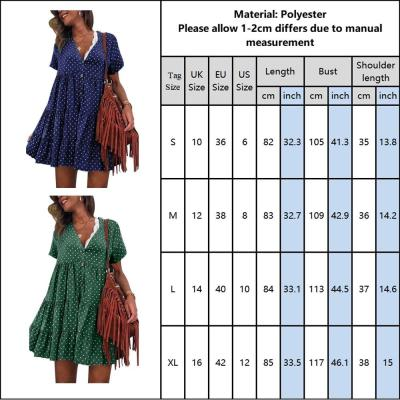 Polka Dot Women Dress Summer V Neck Bohohemian Pleated Dress Fashion Beach Sundress Ladies Short Sleeve Mini Dress Vestidos D30
