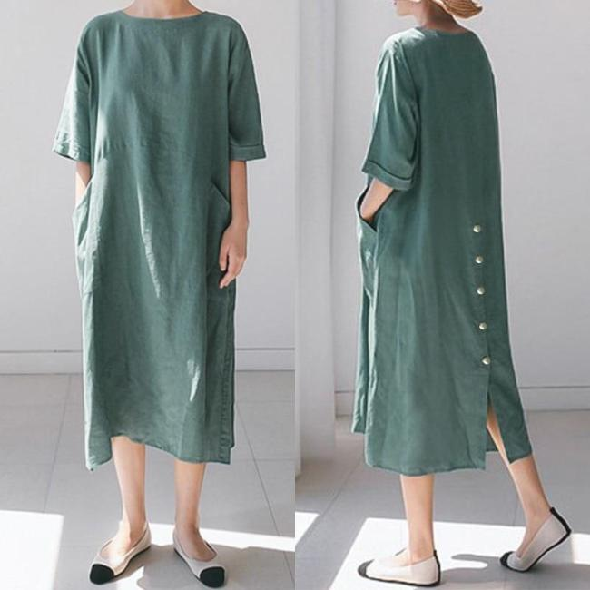 Stylish Back Split Midi Dress Women's Summer Sundress ZANZEA 2020 Casual Short Sleeve Long Vestidos Female O Neck Robe Femme 5XL