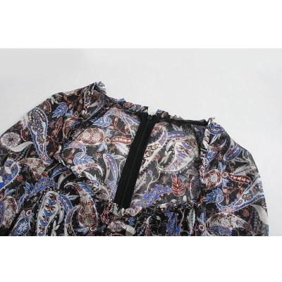 AGong Vintage Slim Square Collar Mini Dresses Women Fashion Paisley Printed Dress Women Elegant Ruffles Dresses Female Ladies IK