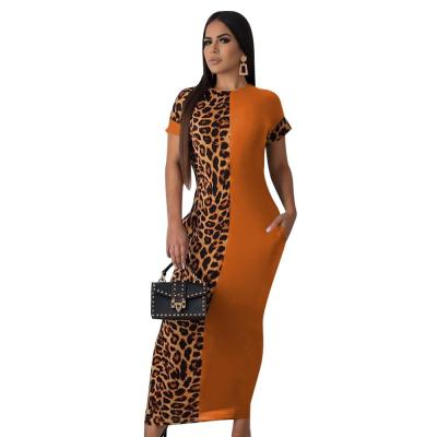 Bodycon Women Summer Dresses Short Sleeve Bandage Tunic Ladies Maxi Dress Leopard Printed Patchwork Dress For Female D30