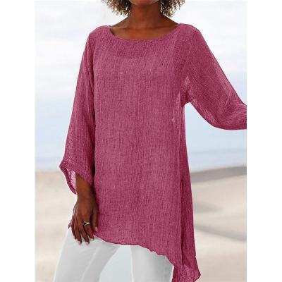 Cotton Soft Solid Blouse Summer Loose Plus Size Shirt O-Neck Long Sleeve Womens Tops and Blouses Anomalistic Casual Women Tunic