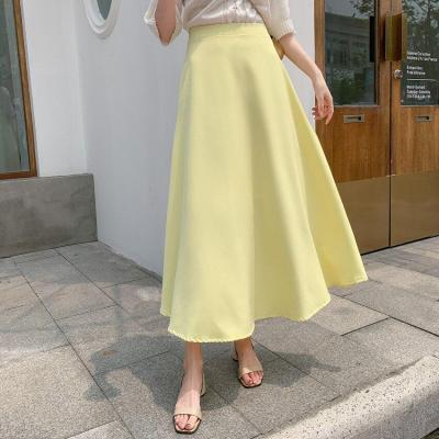 Yellow Long Midi Skirts Women High Waist A-Line Zipper Vintage Casual Solid Skirts Korean Elegant Summer Skirt Plus Size W910