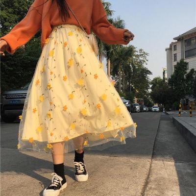 3D Flower Embroidery Lace Mesh Skrit Women High Elastic Waist Long Midi Skrit Yellow Elegant Tulle Skirt Sweet Cute Student W743