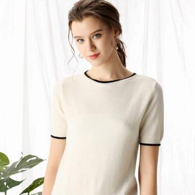 Women summer knitting T-shirts with white edge short sleeves O-neck solid 35% real Cashmere sweater fashion ladies Tops