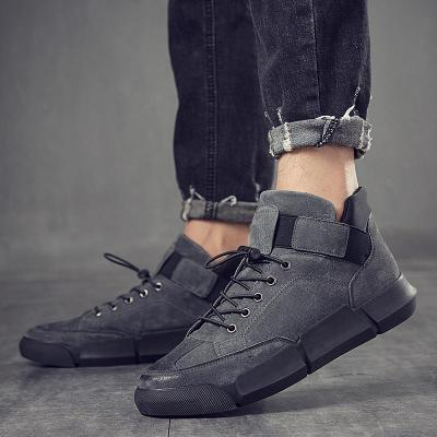 High-Top Sneakers flat Shoes For Men NEW Brand High quality men boots all Black Men's leather casual flats shoes 2020 new