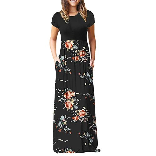 Women's Casual Sleeve O-neck Print Maxi Tank Long Dress plus size Polyester Summer Dress #YL5