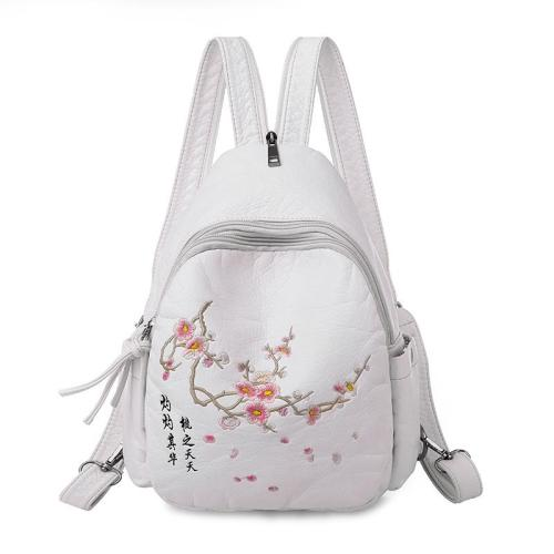 2020 Women Embroidery Leather Backpacks For Teenage Girls Sac A Dos Travel Bagpack Ladies Female Soft Leather Backpack Flowers