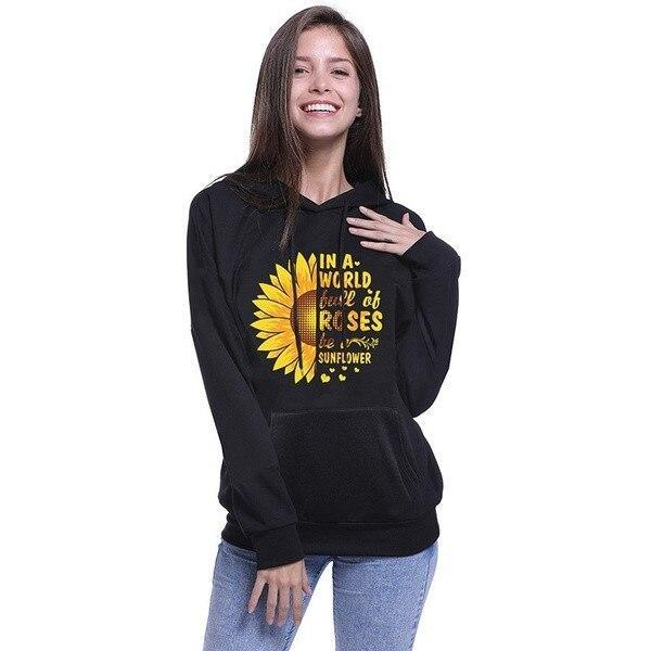 Flower Letter Print Casual Hoodie Sweatshirt Fashion Autumn Women Full Sleeve Pullover Simple Hooded Loose Top Invierno Mujer#Y3