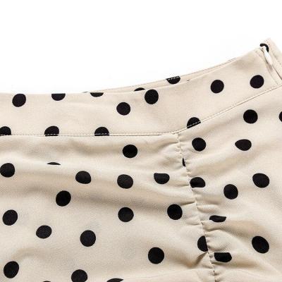 Polka dot ruffle long skirt high waist streetwear vintage asymmetrical skirt autumn winter office lady maxi skirt 2020