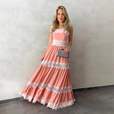 Spaghetti Strap Women Dress Sundress Summer Pink White Wedding Party Ladies Maxi Dress Sleeveless Patchwork Female Dresses D40