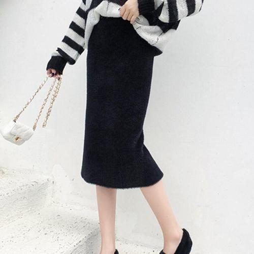 Mink Cashmere Pencil Skirt Women Knee-length Autumn Winter Thick Midi Knitted Skirt Sexy Split Bodycon Skirt Elastic Waist W124
