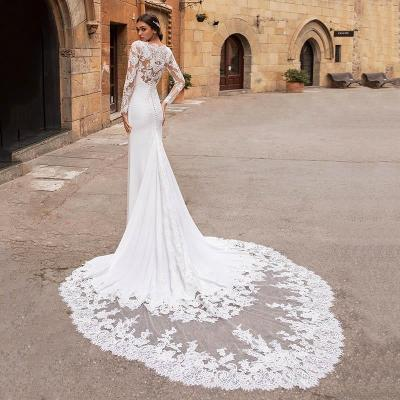 Eightree Vestido de noiva Long Sleeves Wedding Dresses Mermaid V Neck Lace Appliques Wedding Gowns Backless Bridal Dress Turkey