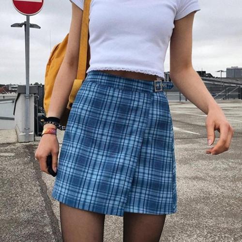 Foridol plaid vintage belt skirt women chic streetwear check mini skirt high waist checkered  a line skirt 2020 new blue skirt