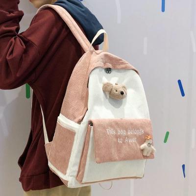 Stripe Female Corduroy Backpack Kawaii Women Letter Embroidery School Bag Girl Cute Backpack Harajuku Fashion Ladies Bag Student