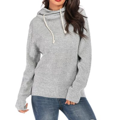 Basic Hooded Tops Solid Long Sleeve Sweatshirt Women Drawstring Knitted Pullover Hoodies Casual Knitwear Femme #F5