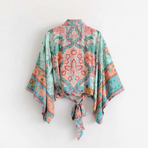 Boho Vintage  Floral Print Sashes short  Kimono Women 2020 New Fashion V Neck batwing Sleeves Ladies Blouses Casual Blusas