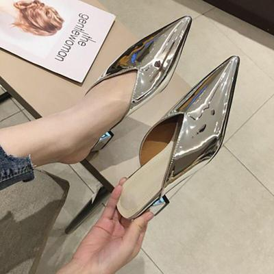 Women Sequined Cloth Slippers Ladies Fashion Low Heels Slides Female Pointed Toe Thick Heel Shoes Women's Casual Footwear