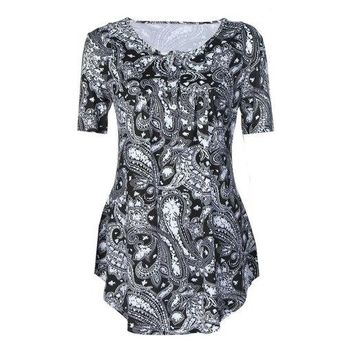 Fashion Female Short Sleeve Print Tops Simple Casual Flare Tunic Womens Blouse Ladies Plus Size Blouse Shirt Vetement Femme 2020